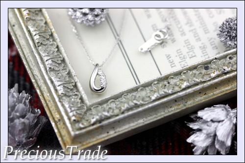 【プレトレ】1円~ 4℃ K18WG ダイヤモンド ネックレス しずく型